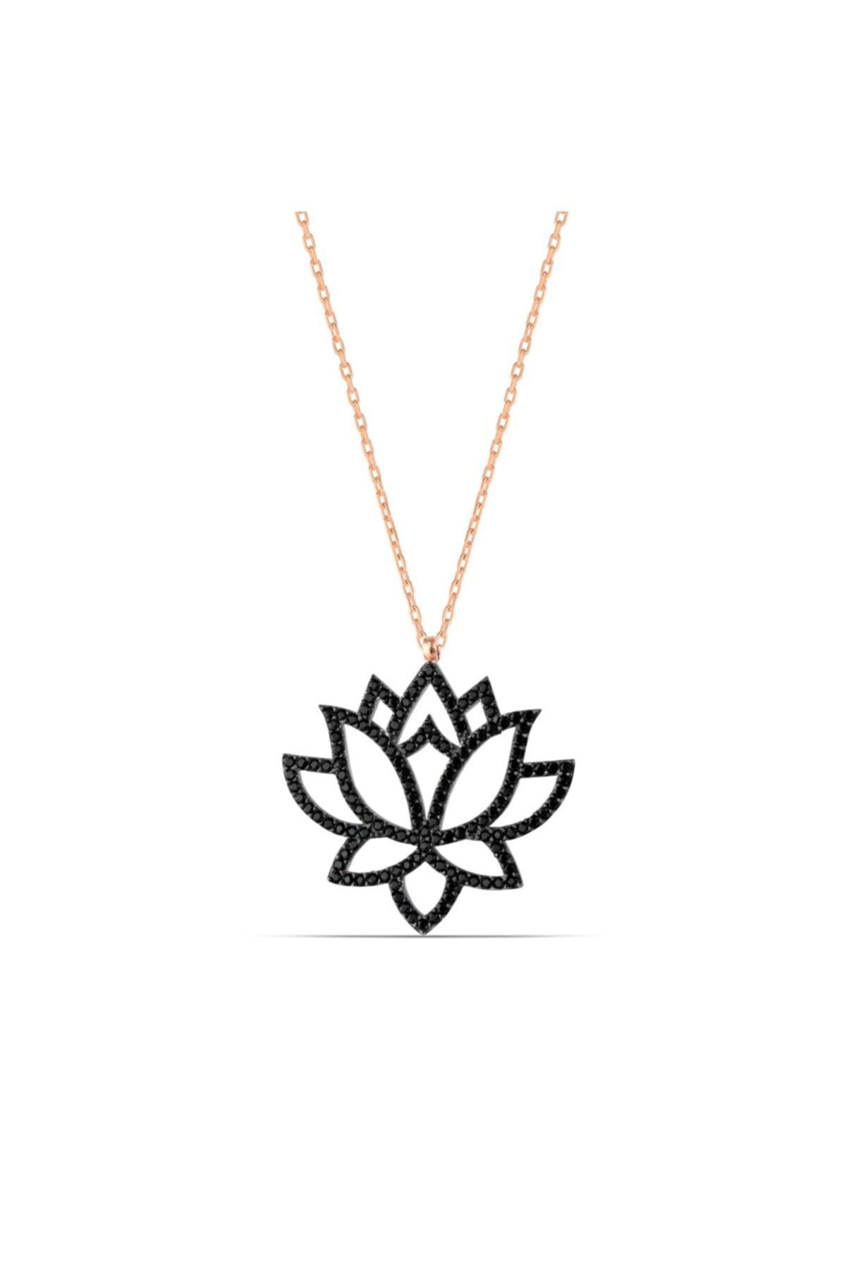 MySilvers Lotus Çiçeği Kolyesi Kadın Rose 1