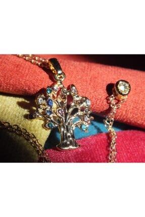 FEELİNG Hayat Ağacı ( Yaşam Ağacı) Renkli Taşlı Kolye
