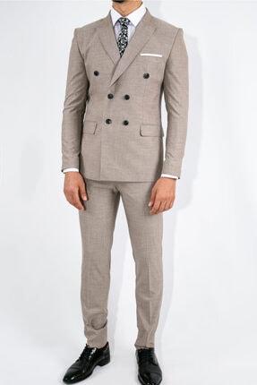 Suitmen Ince Çizgili Slim Fit Kruvaze Takım Elbise Bej