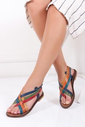Deripabuc Hakiki Deri Multi-1 Kadın Deri Sandalet Dp28-0808