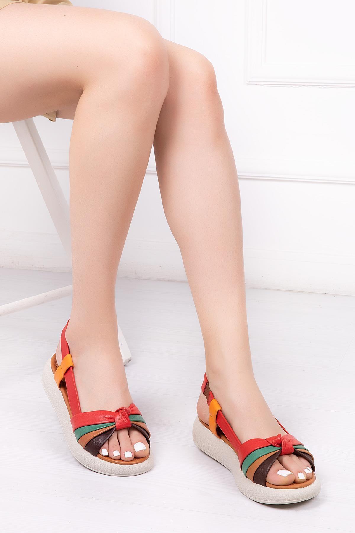 Deripabuc Hakiki Deri Multi-2 Kadın Deri Sandalet Dp-1841 1
