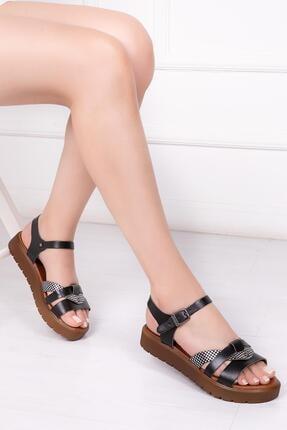 Deripabuc Hakiki Deri Siyah X3 Kadın Deri Sandalet Dp-1014