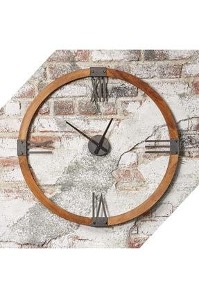 bluecape Doğal Masif Ağaç Antik Metal Roma Rakamlı Duvar Saati 70cm