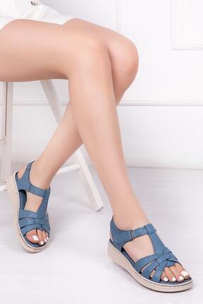 Deripabuc Hakiki Deri Kot Mavi Kadın Deri Sandalet Dp41-6010