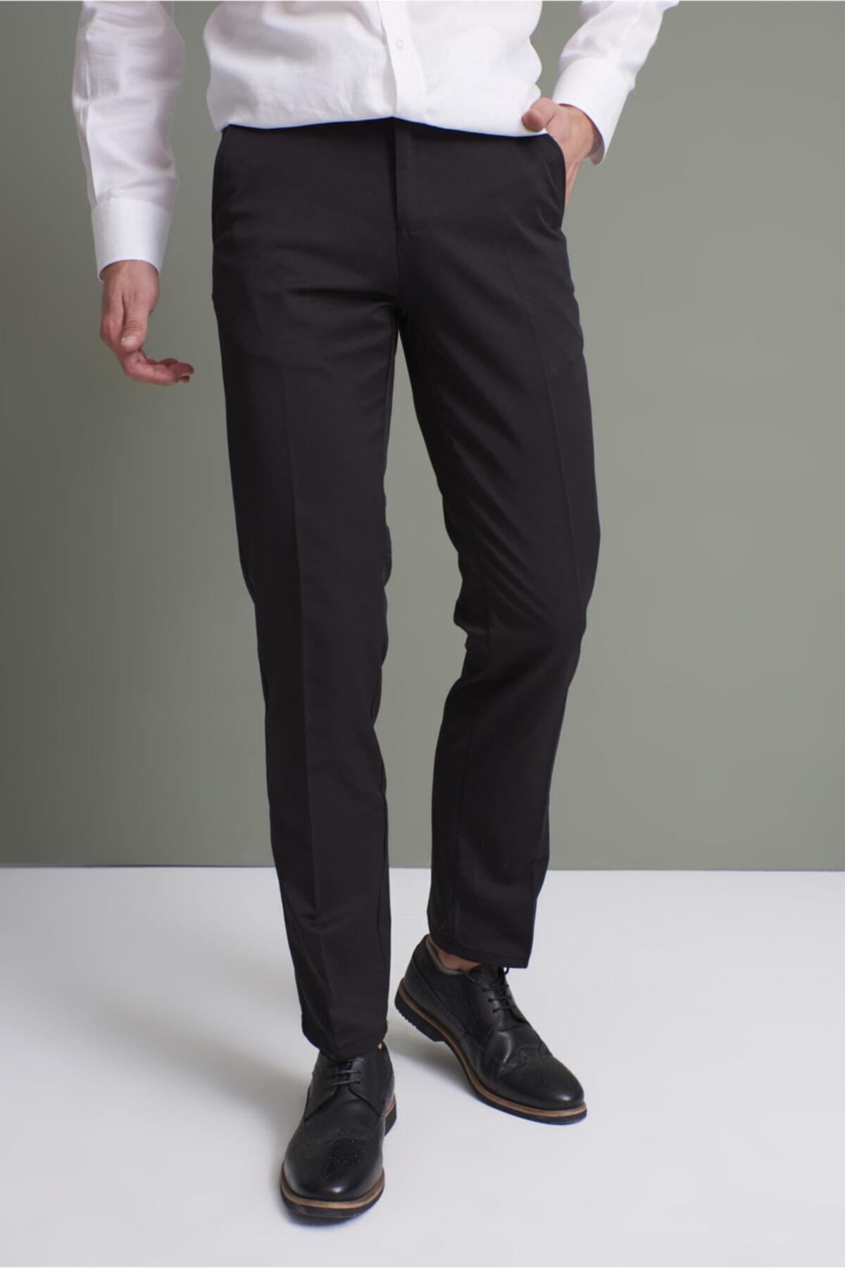 TENA MODA Erkek Siyah Klasik Rahat Kalıpkumaş Pantolon 1