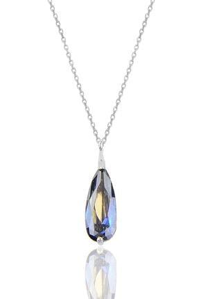 Söğütlü Silver Gümüş Rodyumlu Mavi Mistik Taşlı Damla Kolye