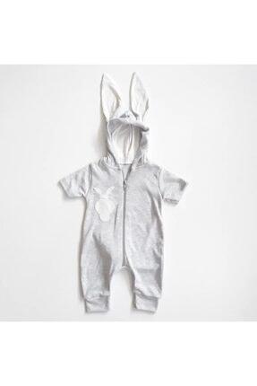 bebegen Gri Tavşan Kulaklı Ponponlu Kısa Kollu Yazlık Bebek Tulum