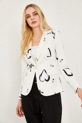 Lafaba Kadın Beyaz Desenli Ceket