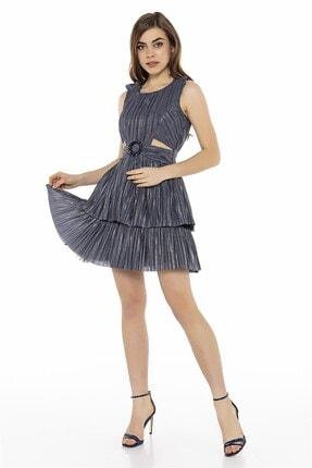 Abiye Sarayı Füme Bel Detaylı Kat Kat Mini Elbise
