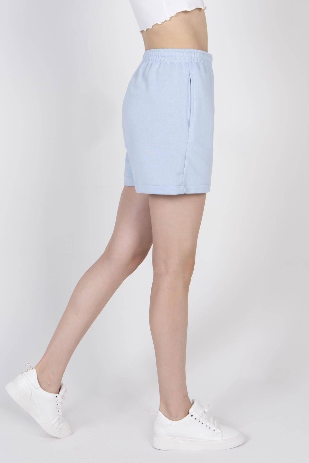 Addax Kadın Mavi Cep Detaylı Şort Ş0941 - F3 - F4 ADX-0000022301 1