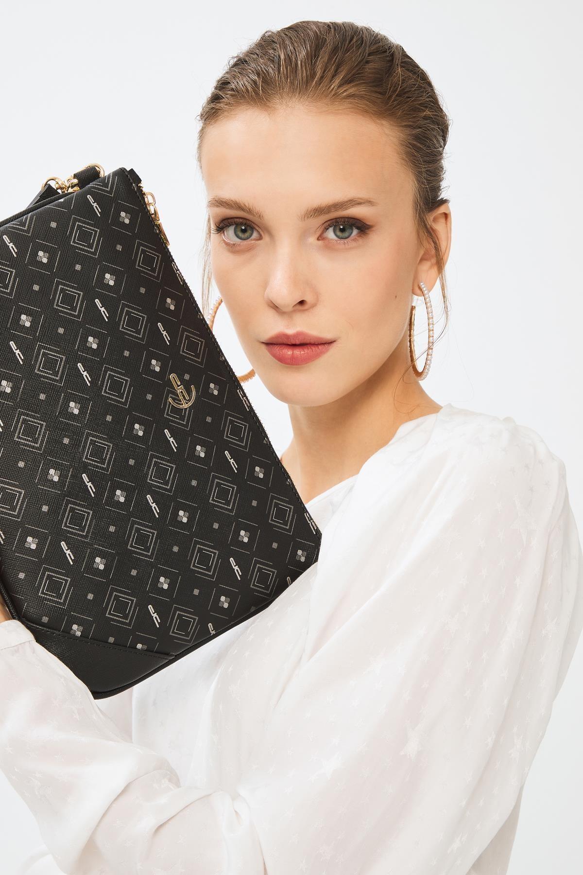 Deri Company Kadın Basic Clutch Çanta Monogram Desenli Siyah Gri 214002 1