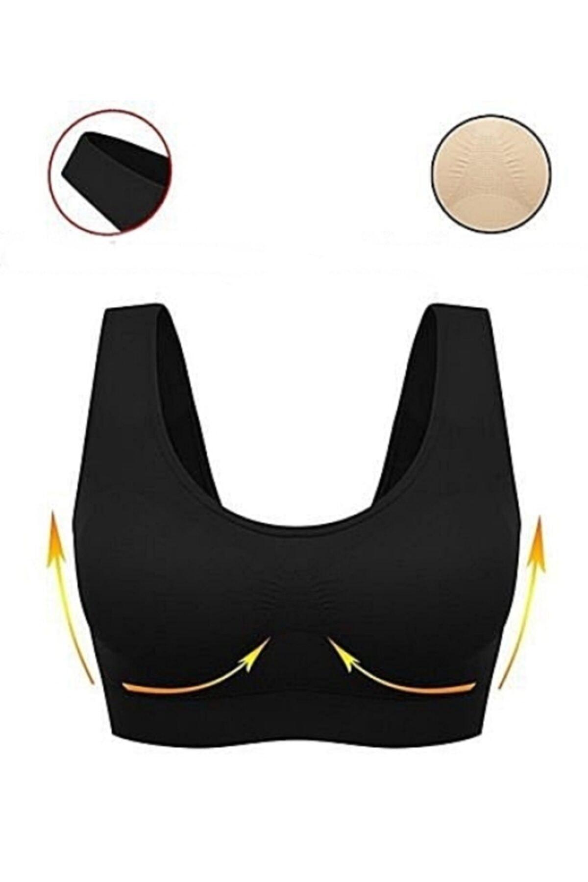 Akdağ Sportswear Toparlayıcı Seamless Tek Katlı Siyah Sporcu Sütyeni 1