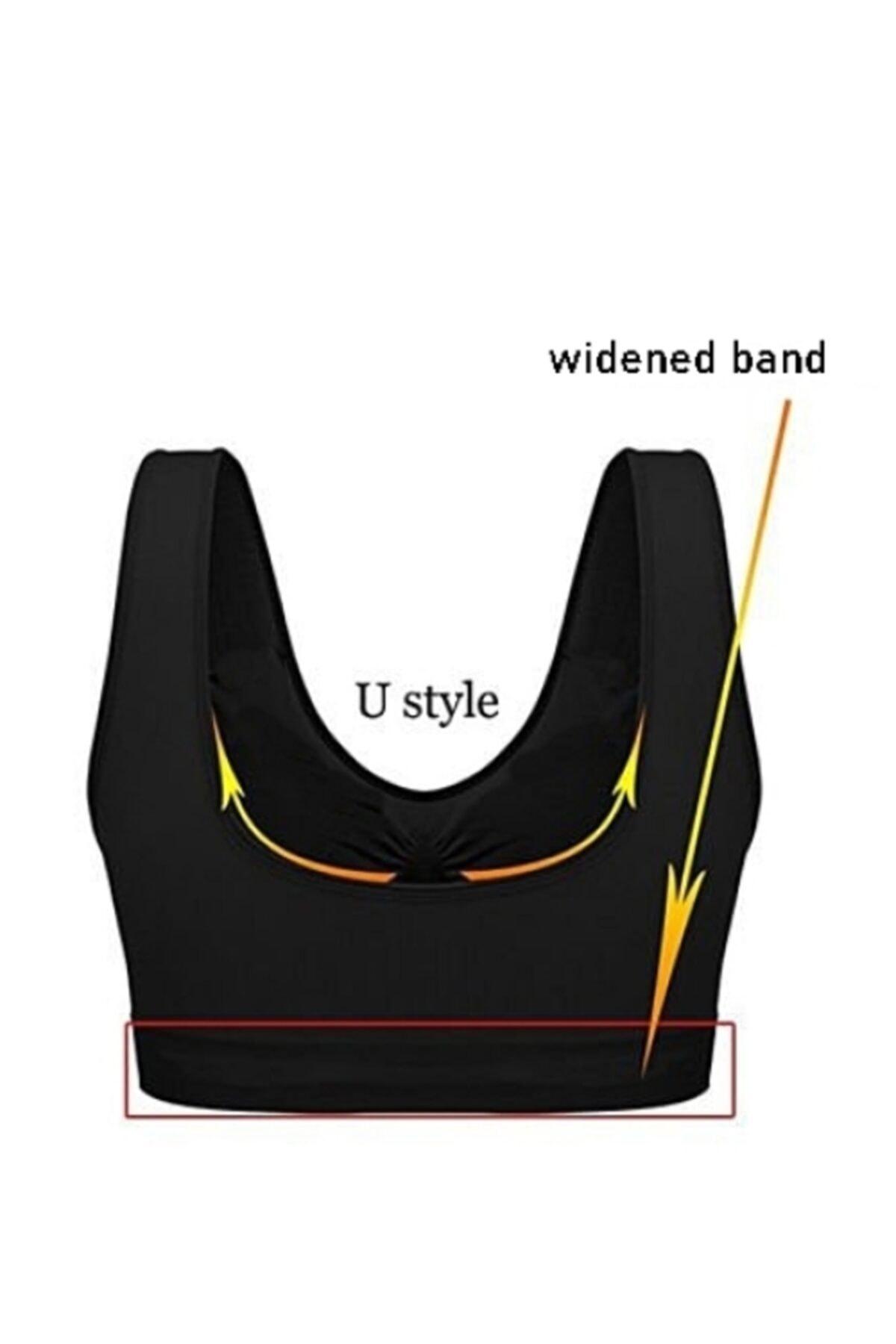 Akdağ Sportswear Toparlayıcı Seamless Tek Katlı Siyah Sporcu Sütyeni 2