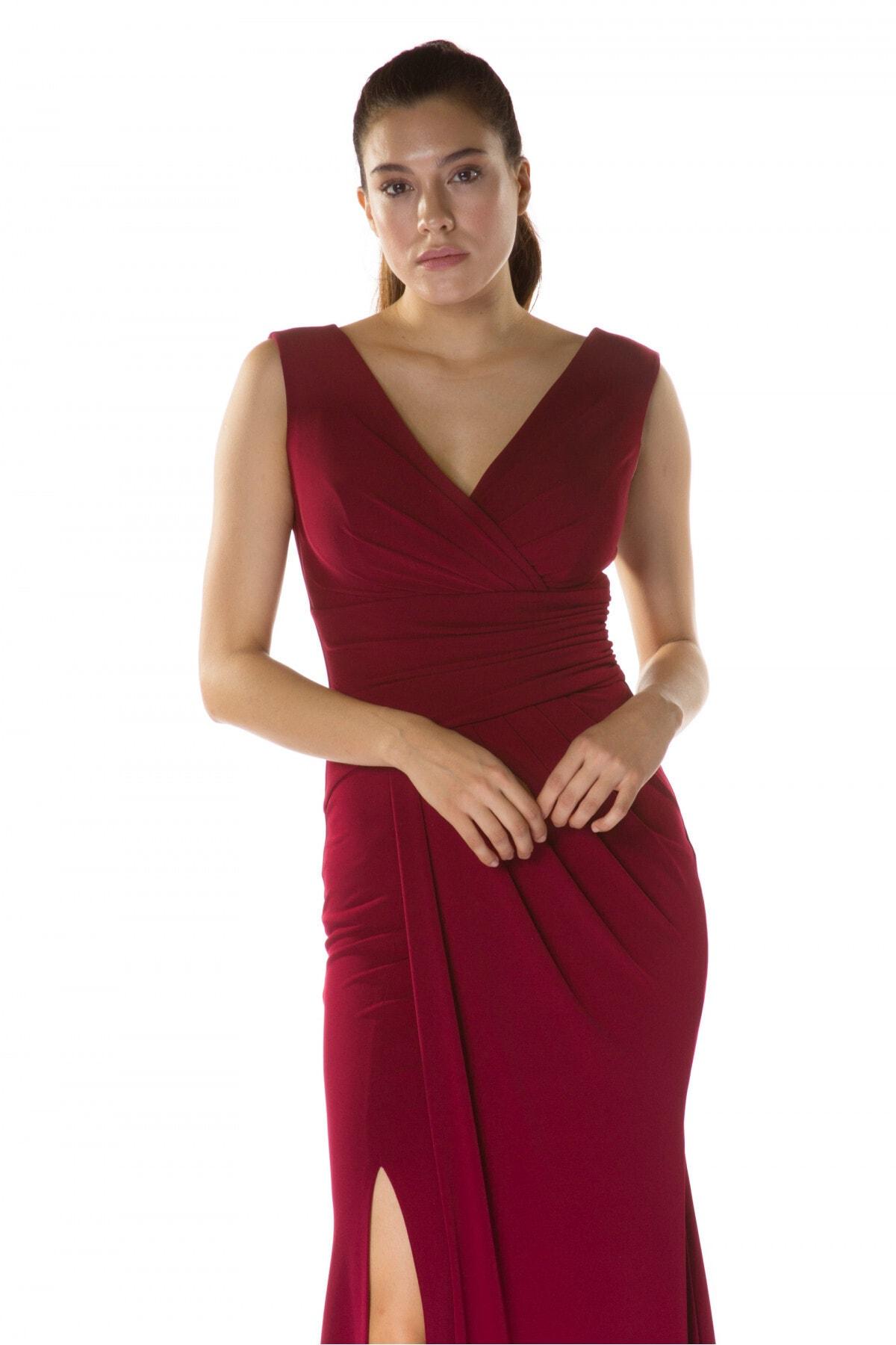 Carmen Bordo Sandy Yırtmaçlı Uzun Abiye Elbise 2