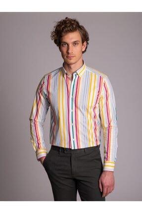Dufy Çok Renkli Çizgili Erkek Gömlek - Slım Fıt
