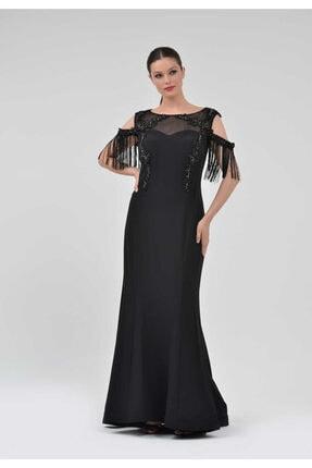 TOLGA SARAÇOĞLU - Abyelb0051 Püskül Detaylı Uzun Abiye Elbise