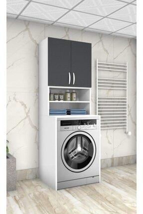 ARS GRUP MOBİLYA Antrasit 55 Lik Çamaşır Makinesi Dolabı Banyo Dolabı Raflı Kapaklı Dolap