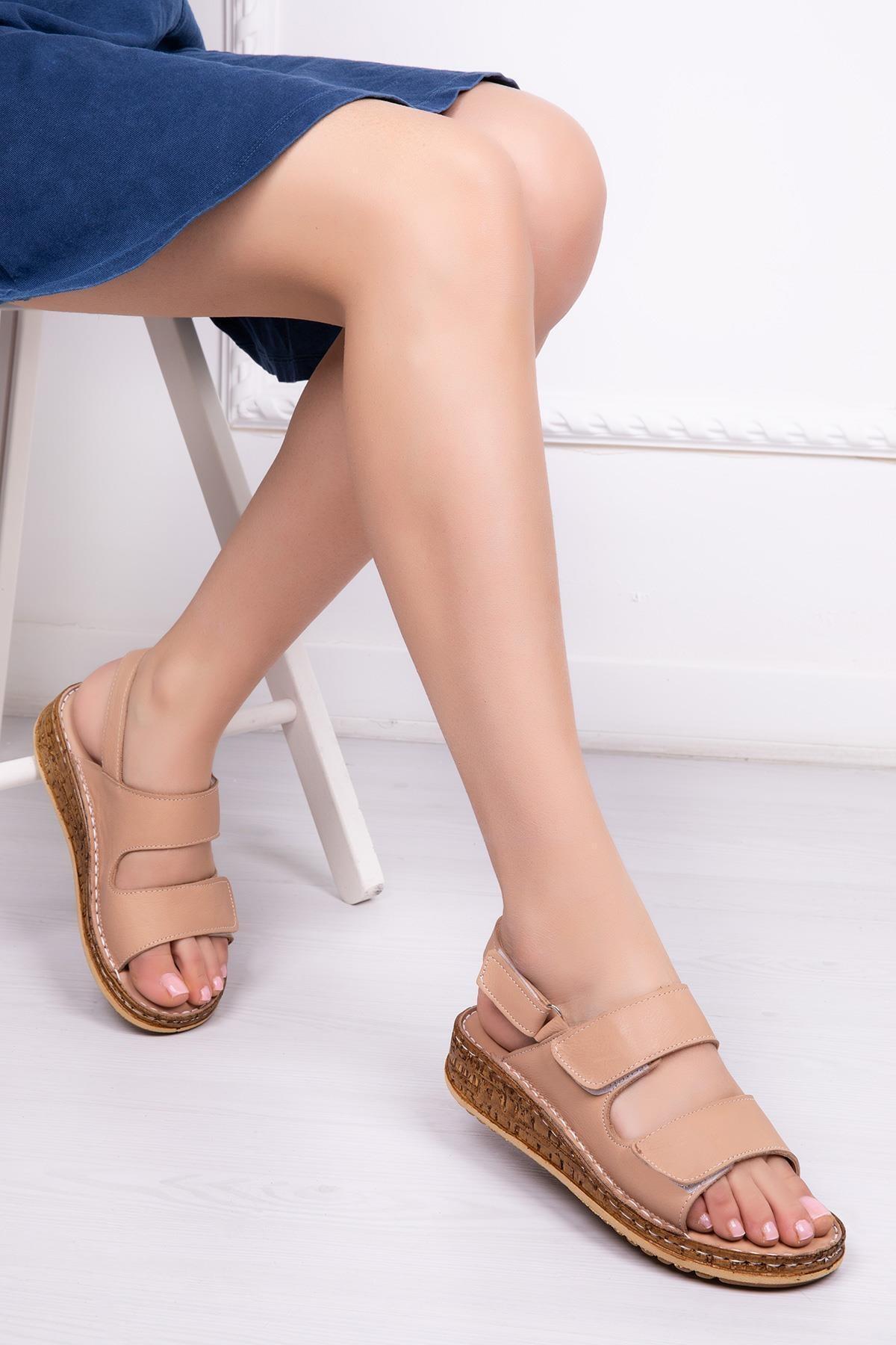 Deripabuc Hakiki Deri Bej Kadın Deri Sandalet Dp16-0303 1