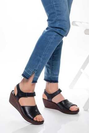 Deripabuc Hakiki Deri Siyah Kadın Deri Sandalet Dp05-0232