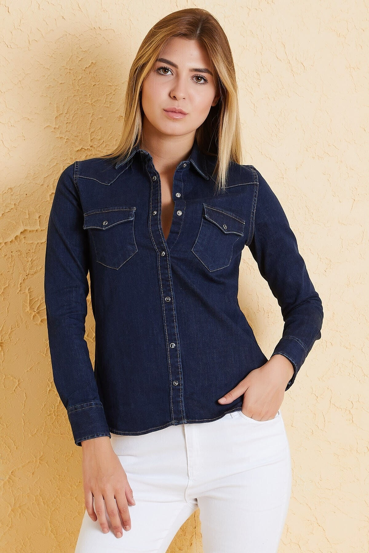 Twister Jeans Kadın Slim Fit Gömlek Bg 812-02 Lacivert 1