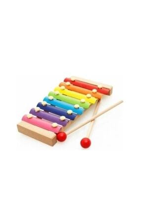 Wooden Toys Ahşap Ksilofon 8 Nota 8 Ton 25 Cm 8 Tuşlu Sesli Selefon Oyuncak