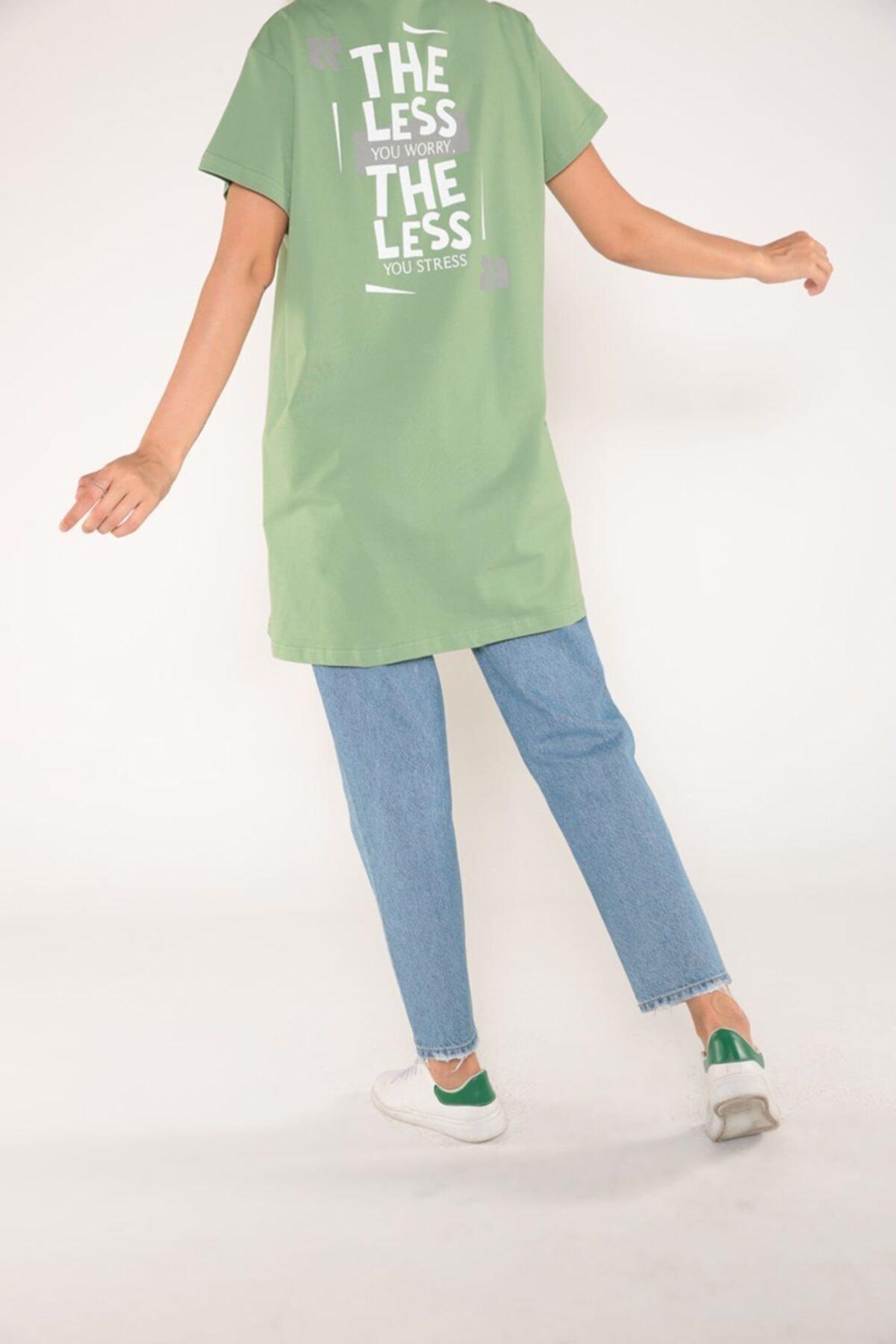 ALLDAY Fıstık Yeşili Arkası Baskılı Kısa Kol T-shirt 1