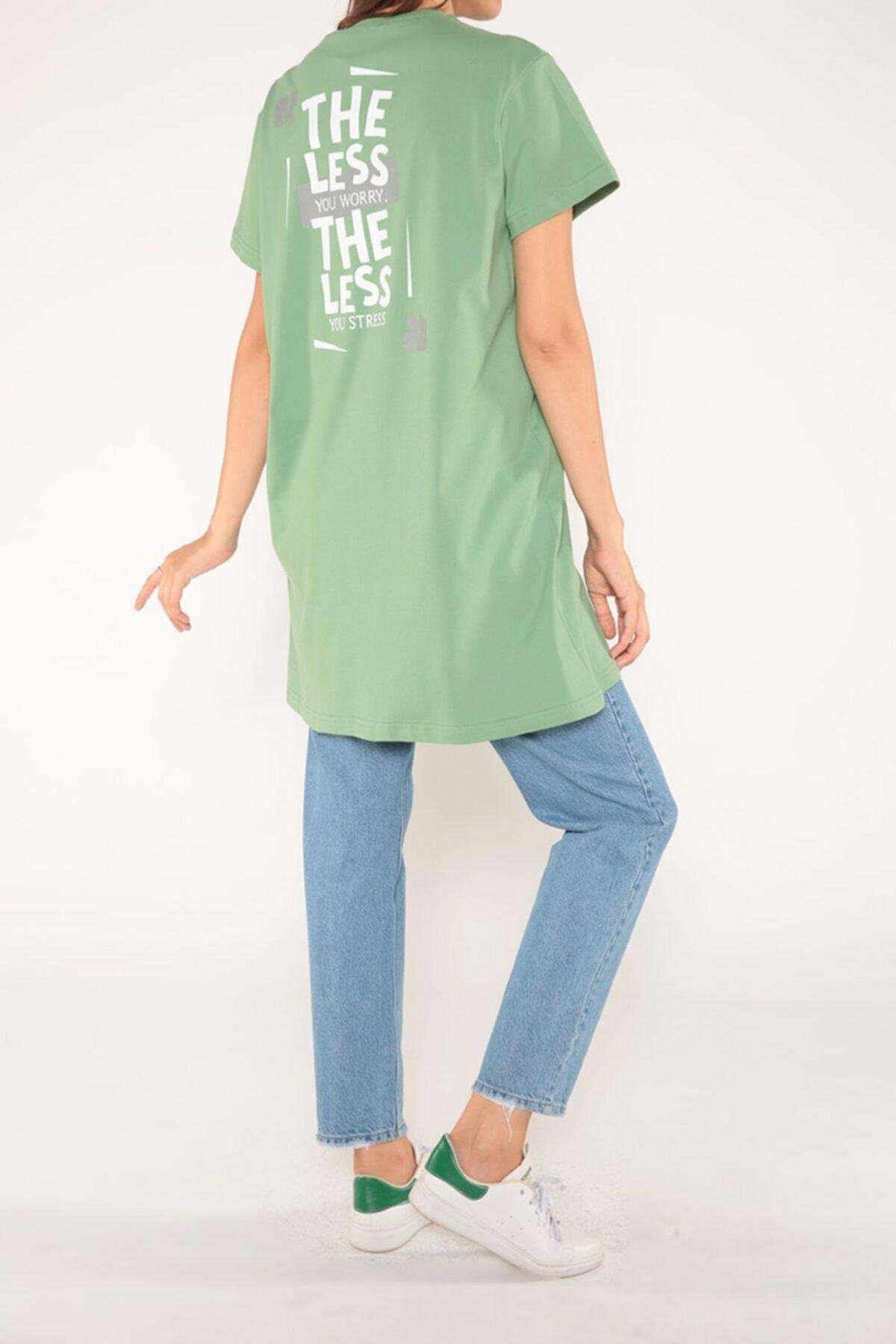 ALLDAY Fıstık Yeşili Arkası Baskılı Kısa Kol T-shirt 2
