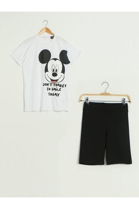 LC Waikiki Mickey Mouse Kadın Optik Beyaz E5X Pijama Takımı