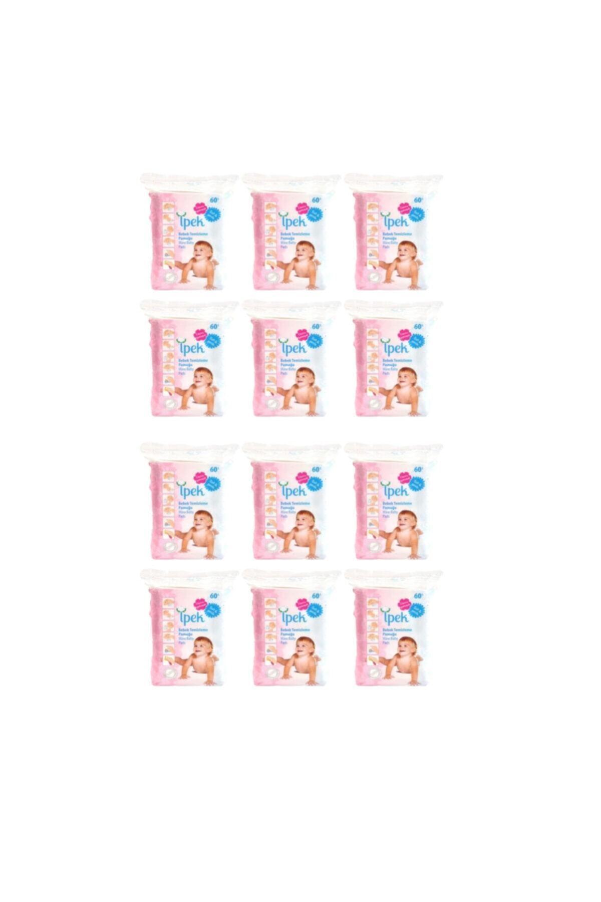 İpek Bebek Temizleme Pamuğu 60 Lı 12 Paket 720 Kullanım 1
