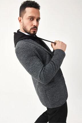Avva Erkek Siyah Kurtağzı Yaka Jakarlı Slim Fit Kapaklı Cepli Ceket A02y4019