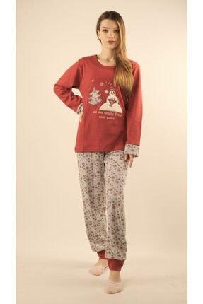Fabrika Kadın Bordo Interlog Kardan Adam Baskılı Pijama Takımı