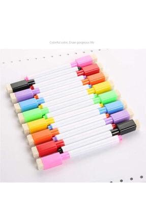 Dünya Magnet 12 Adet Karışık Renkli Mıknatıslı Silgili Akıllı Tahta Kalemi - Silinebilir Beyaz Tahta Kalemi