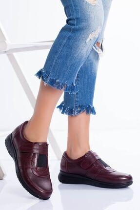 derithy Kadın Bordo Hakiki Deri Ayakkabı