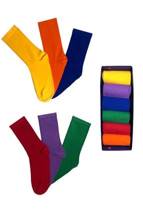 Socks Fabrikası Çok Renkli Çorap Kutusu 6'lı