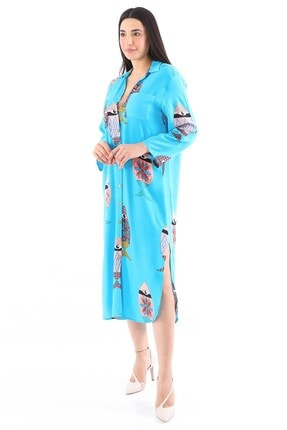 Arlin Kadın Balık Desenli Düğmeli Cepli Yandan Yırtmaçlı Gömlek Turkuaz Elbise