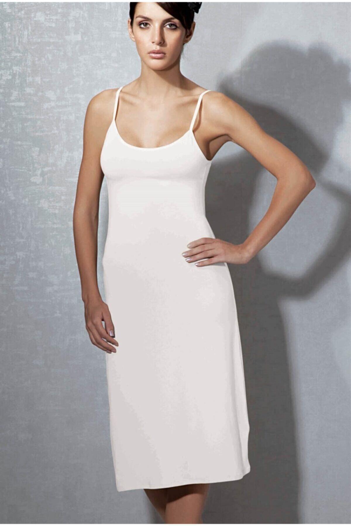 Doreanse Kadın Beyaz  Modal Askılı Jüpon Kombinezon 11129 1