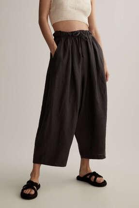 Oysho Kadın Siyah Keten Geniş Pantolon