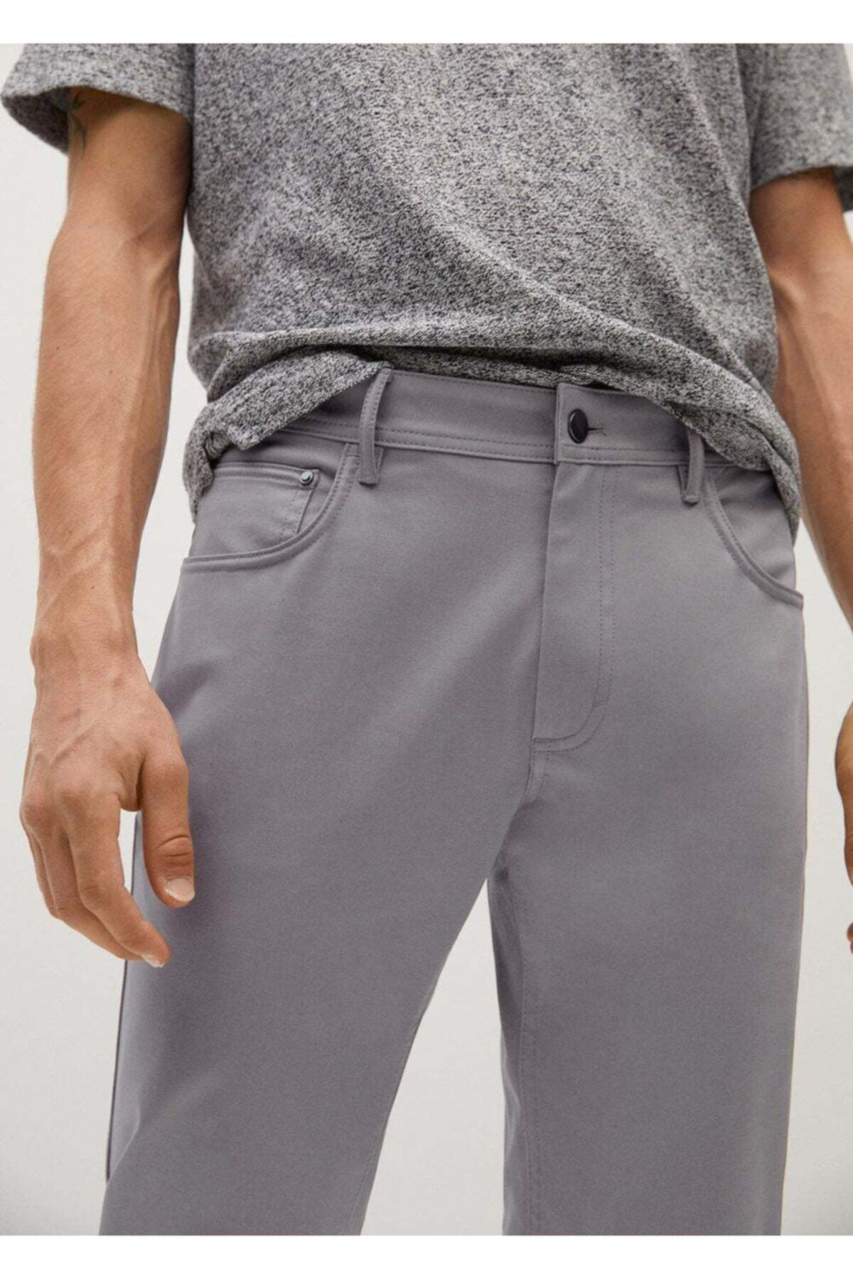 MANGO Man Erkek Gri Dar Kesim Denim Görünümlü Serj Pantolon  77001006 1