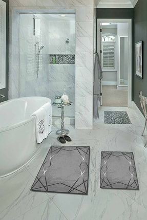 colizon 60x90 - 50x60 Dijital Banyo Halısı Kaymaz Deri Tabanlı Klozet Takımı 2'li Paspas Seti