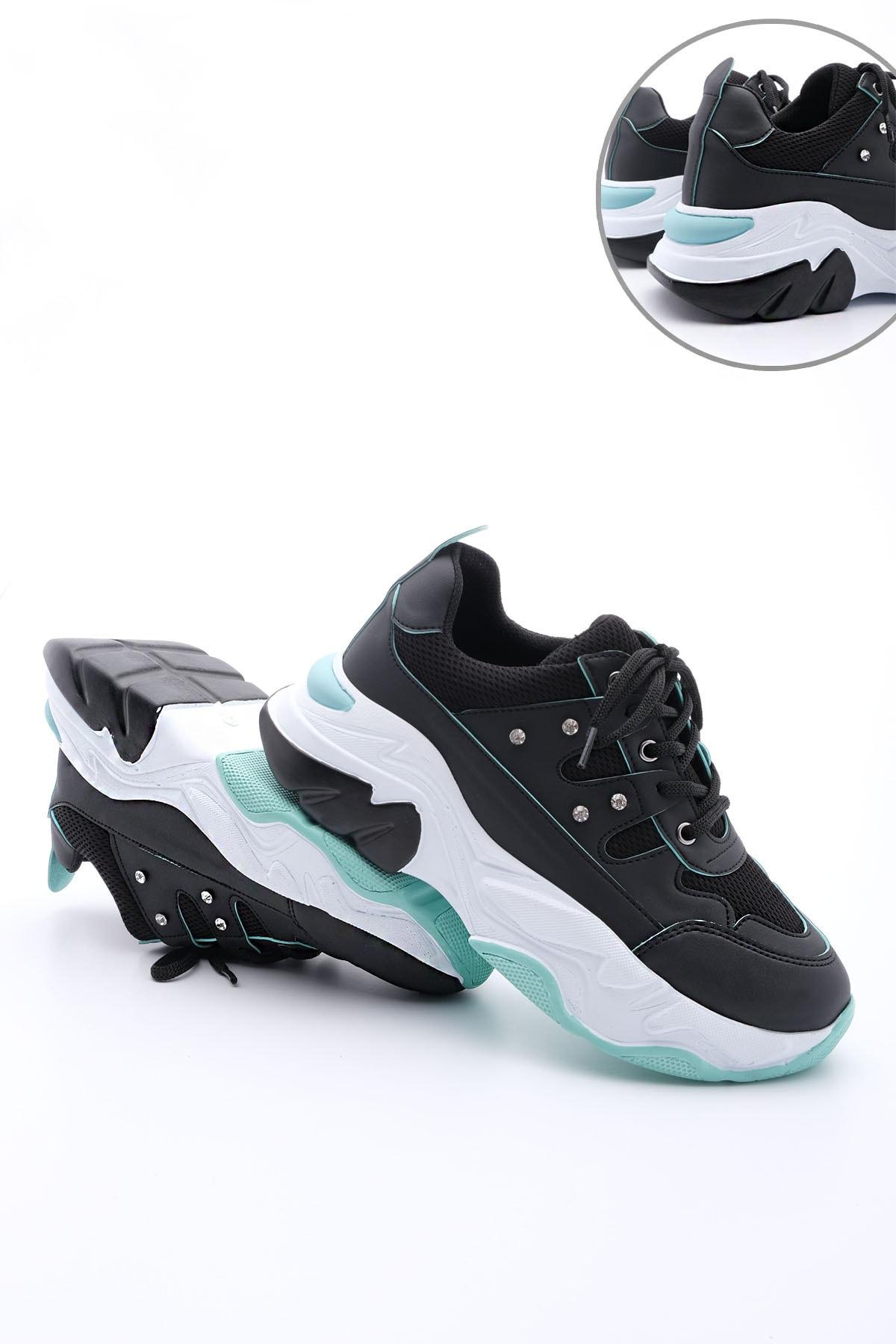 Marjin Kadın Siyah Sneaker Dolgu Topuk Spor Ayakkabı Atrin 1