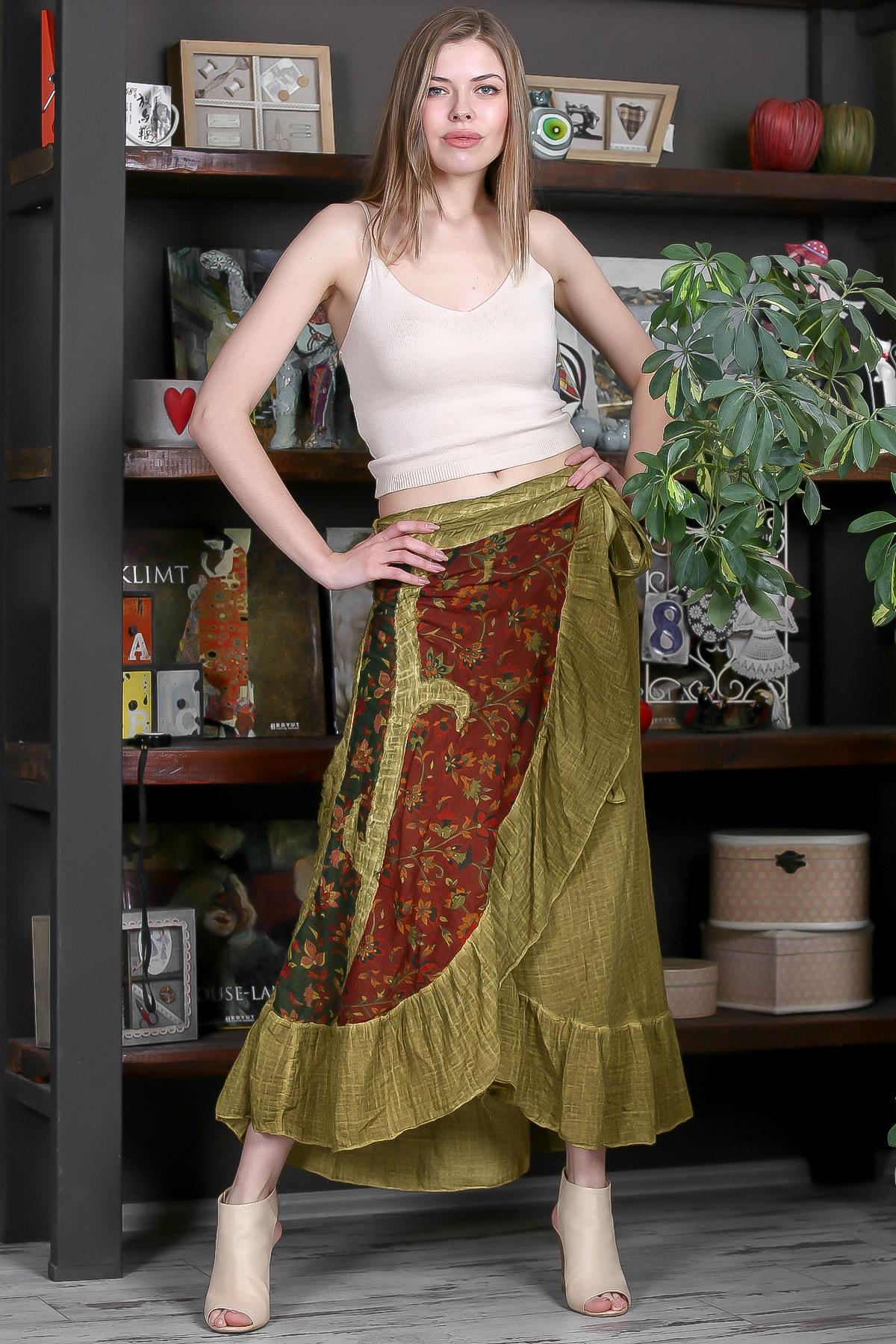 Chiccy Kadın Yeşil Gipsy Tülbent Kumaş Bloklu Volanlı Bağlamalı Yıkamalı Anvelop Etek M10110000ET99265