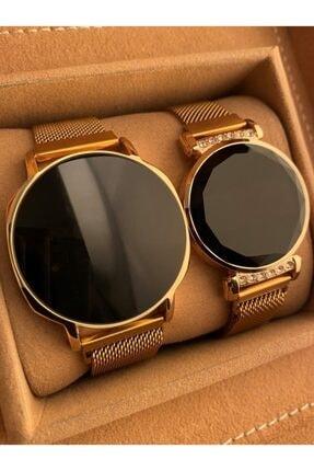 Gold Time Dokunmatik Gold Renk Mıknatıslı Sevgili Saat Kombini
