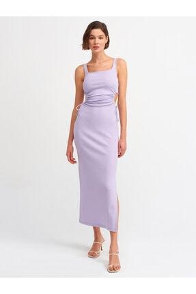 Dilvin Kadın Pencere Detaylı Uzun Elbise-lila9094