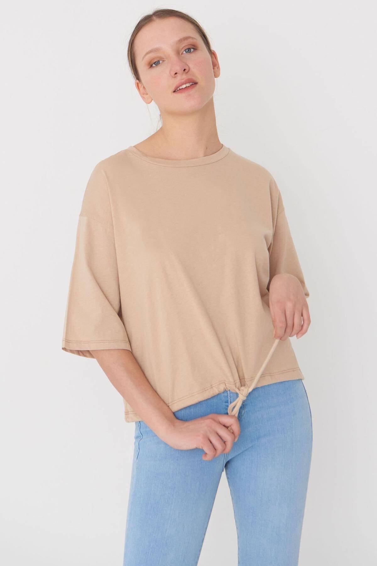 Addax Kadın Kahve Basic T-Shirt P6235 - İ3 Adx-0000023817
