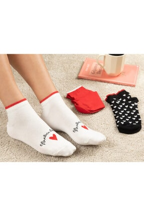 English Home Red Heart Pamuk Kadın 3'lü Çorap Kırmızı-siyah