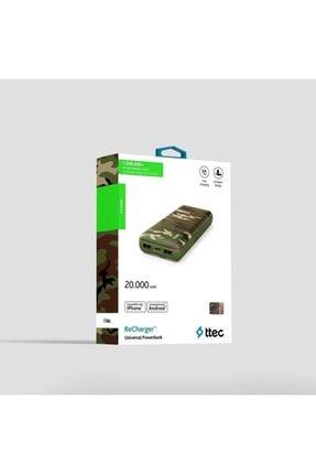 Ttec Taşınabilir Power Bank Şarj Aleti Yeşil Kamuflaj Recharger 20.000mah 2bb157yk