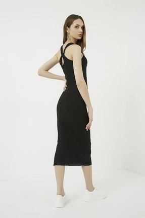 Vis a Vis Kadın Siyah Sırt Detaylı Kaşkorse Midi Elbise STN723KEL160