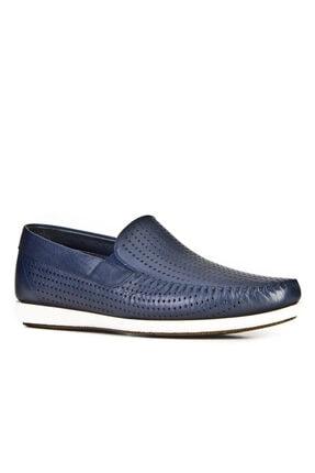 Cabani Lazer Detaylı Loafer - Erkek Ayakkabı Lacivert Deri