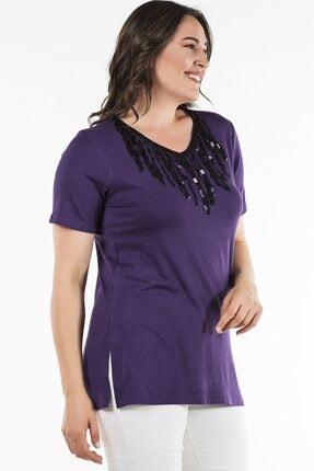 Womenice Büyük Beden Mor Yakası Püsküllü Yırtmaçlı Bluz