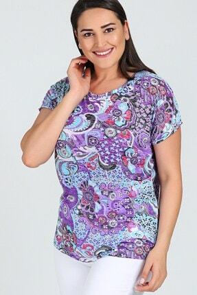 Womenice Büyük Beden Mor Desenli Kolsuz Bluz